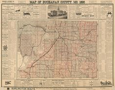 Map of Buchanan County, Missouri, MO, 1895.  Restoration Hardware Home Deco Style Old Wall Map. Vintage Reproduction.