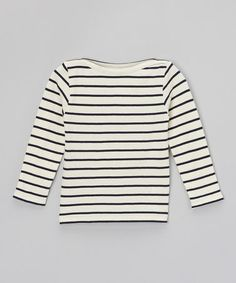 $17. Take a look at this Natural & Navy Stripe Boat Neck Tee - Toddler & Girls by GIL & JAS on #zulily today!