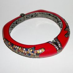 Sterling Silver Rina Limor Calypso Collection Red Enamel & Sapphire Bracelet #Bangle #red