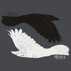 Ravens - the runes name them as Huginn and Muninn.