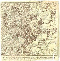 Map of locations of bombing in Nottingham during the Second World War. Published in the Nottingham Evening Post 17 May 1945 Nottingham Caves, Nottingham Map, Old Pictures, Old Photos, Train Map, Blitz Kids, Family Tree Chart, Old Maps, History Photos