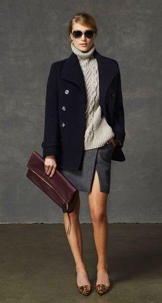 navy blue blazer, knit turtleneck, clutch, split skirt