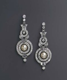 A PAIR OF ART DECO NATURAL PEARL AND DIAMOND EAR PENDANTS circa 1930