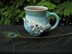 Turquoise Leafy Rosey Mermaid Tea Cup by ClayChimera on Etsy, $35.00