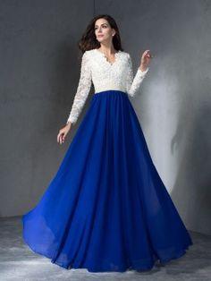 A-Line/Princess V-neck Long Sleeves Floor-Length Chiffon Dresses