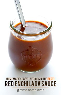 Homemade Red Enchilada Sauce -- so many blog readers who have tried this sauce RAVE about it!  It's definitely my favorite. | gimmesomeoven.com #mexican