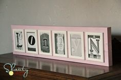 Want to make alphabet art hanging, but don't want to take out a loan to do so? I did, but I couldn't spend lots of $ for the materials to make one for a 7 letter name.  Solution - Dollar Tree frames and a piece of wood for the back - done for about 8 dollars!  (assuming you have some glue and paint, which most crafters have).