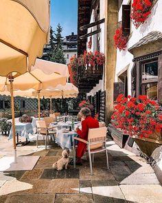 Badrutt's Palace Hotel  Restaurant-Bar Chesa Veglia Palace Hotel, Beautiful Hotels, Restaurant Bar, Patio, Outdoor Decor, Home Decor, Decoration Home, Room Decor, Home Interior Design