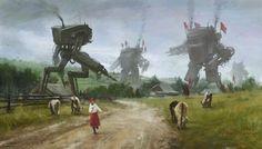 l'artista Jakub Rozalski, alias Mr. Werewolf, immagina un passato oscuro e spaventoso, popolato da macchine da guerra e robottoni giganti...