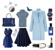 """Shades of Blue"" by hannaori ❤ liked on Polyvore featuring Warehouse, Nine West, Longchamp, Skagen, Gucci, Aurélie Bidermann, Estée Lauder and Diana Vreeland"
