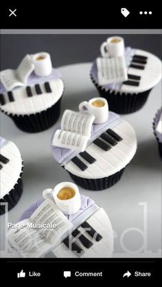 Music and coffee :) Cupcakes - so cute Music Themed Cakes, Music Cakes, Cupcakes Design, Cake Designs, Yummy Cupcakes, Cupcake Cookies, Cupcake Toppers, Coffee Cupcakes, Bolo Musical