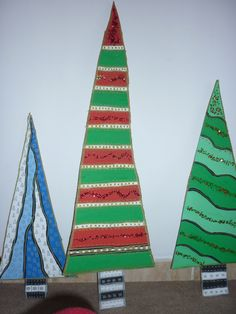 Christmas decoration - Christmas trees from cardboard boxes Christmas Tree Painting, Christmas Trees, Christmas Decorations, Christmas Ornaments, Holiday Decor, Cardboard Tree, Cardboard Boxes, Ward Christmas Party, Holidays