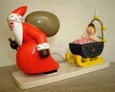 Reserved For Susan - Vintage Wendt And Kuhn Santa Claus With Baby In Sled…