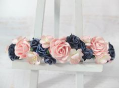 I love navy blue and pink together so I made a flower crown in this set of colours. This flower crown may look similar to other crowns I have made but