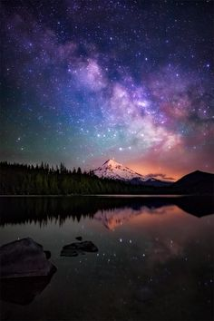The Milky Way galaxy over Mt. Hood, as seen from beautiful Lost Lake in Oregon.