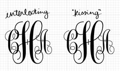 Free Printable Monogram Initials | The original monogram is on the left, and then I show another spacing ...