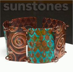 Embossed Copper Link Bracelet with Patina by SunStones on Etsy
