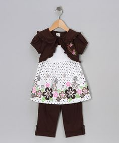 $9.99!!  Take a look at this Brown Flower Ruffle Layered Tunic & Capri Pants - Toddler & Girls by G Sports on #zulily today!