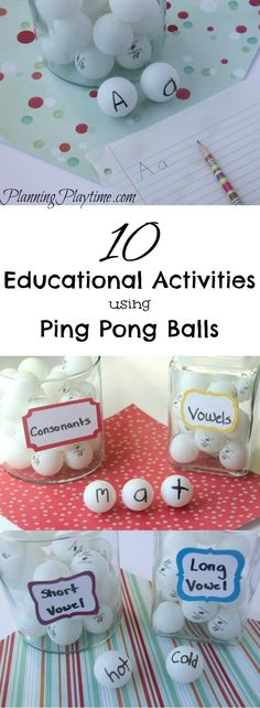 10 Educational Activities Using Ping Pong Balls. Reading, Math, Spelling, and more.