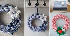 Krásne inšpirácie, ako si vlastnými rukami vyrobiť pletené látkové vence! Kreatívny DIY nápad a návod urob si sama na dekoračný handmade veniec z látky