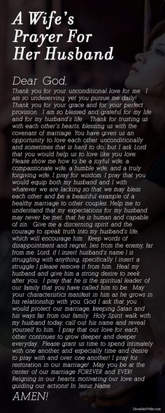 A Wife's Prayer For Her Husband ~ In the midst of all the pins bashing their husbands, pray for him!