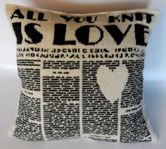 "All you knit is love. From the book ""Making Cushions and Pillows"" by Nina Granlund Sæther. Knitting Charts, Knitting Patterns, Knitting Ideas, Crochet Fall, Knit Crochet, Cushions To Make, Fair Isle Knitting, Saint Valentine, Knitted Blankets"