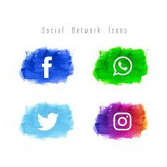 Abstract social network watercolor icon set All Icon, Icon Set, Social Network Icons, Video Downloader App, Name Logo, Business Card Logo, Iphone Wallpaper, Social Media, Vector Freepik