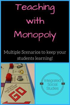 Teach with Monopoly the board game! Get a board, pick a scenario and let the fun begin! Students learn while playing one of America's best loved games. You get a chance to see your students take charge of their own learning while your students play one of four game scenarios. An introduction to important terms is included along with end of game summaries for students and class discussion prompts to help you get everything from this unique lesson.