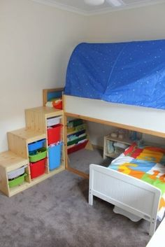 I have always wanted this bed from IKEA for the boys and this is a great idea to make it into a bunk bed with stairs!! I personally would just put a twin size mattress underneath for Miles though. Solves two problems easily- easy access to the top bunk and storage!!!