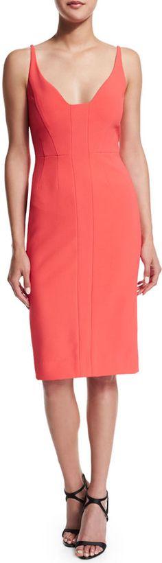 Narciso Rodriguez Sleeveless Scoop-Neck Sheath Dress, Coral