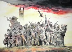 """Watercolour painting of """"The Response"""" is a very moving World War One Grade II memorial"""