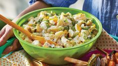 Looking for a flavourful side dish for your backyard BBQ party? Try our Dill Pickle Potato Salad recipe from Sobeys. This creamy, satisfying potatoes salad will keep them coming back for more! Eggs add richness and luxury to the potato salad and adding brine to the potatoes while warm packs in flavour.