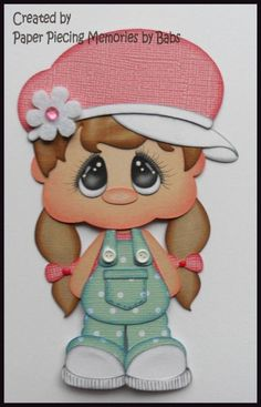 Little Girl Light Brown Hair Premade Paper Piecing Embellishment Die Cut by Babs