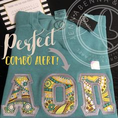 Perfect Combo Alert!! These #AlphaOmicronPi letters are just absolute perfection! Combo: Comfort Colors Unisex Sweatshirt in Seafoam with Lemon Parfait Fabric on Grey Twill. #perfection #AOII #JennaBennaCo