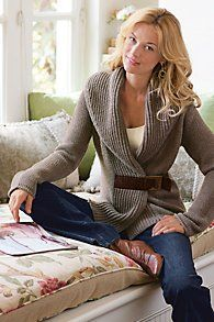 Womens Belted Chunky Sweater
