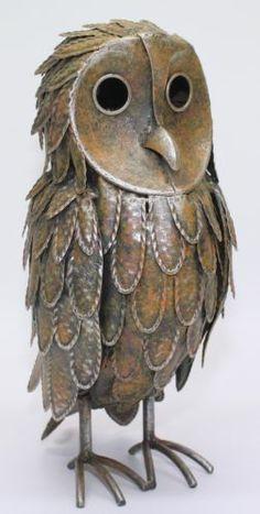 Large Metal Standing Owl Garden Decoration Bird Ornament Patio