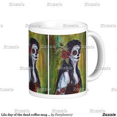 Lila day of the dead coffee mug by Renee Lavoie