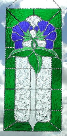 """Blue Floral Victorian Stained Glass Sun Catcher Panel - 8"""" x 18"""" _ $66.95"""