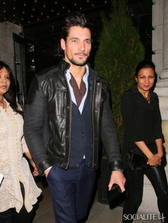 David Gandy Sports A Leather Jacket At GUESS Dinner Event