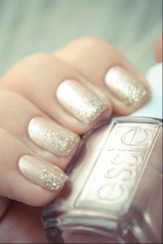 Gorgeous sparkling bridal manicure - So much more original than just having a french manicure on your wedding day! I love this!