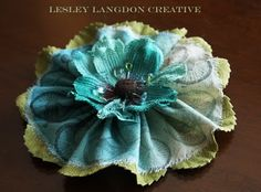 Lesley Langdon Tutorials: LARGE SPRITZED AND STAMPED CANVAS FLOWER
