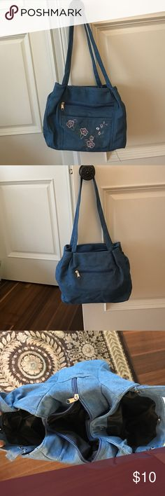 Denim purse with makeup bag and coin purse Has several compartments to it. Can hold a lot of stuff Bags