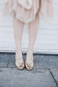   gold strap shoes with a hint of pink  
