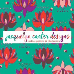 A lotus flower turquoise + red pattern by Pattern Camper & Surface Pattern Designer Jacquelyn Carter.