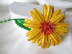 Vintage Yellow and Orange Enamel Flower Brooch by VintagObsessions, $17.00