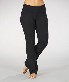 Another great find on #zulily! Black Sanded Dry-Wik Yoga Pants - Plus by Marika #zulilyfinds