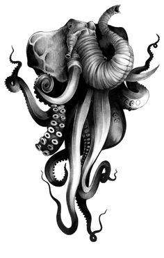 """Elephunk"" by =x-13-x Traditional Art / Drawings / Fantasy (elephant octopus)"