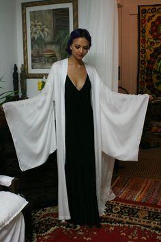 Bamboo Kimono Robe Natural Fiber White Sleepwear Lingerie Bamboo Robe Bridal Wedding Robe Clothing, Shoes & Jewelry - Women - Clothing - Lingerie, Sleep & Lounge - Lingerie - Lingerie, Sleepwear & Loungewear - http://amzn.to/2lSL4Y7