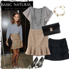 《Olivia Palermo時尚穿搭 & 荷葉蛋糕裙》 Olivia Palermo trends ruffle tiered skirt and heels. 名媛奧利維亞 巴勒莫,灰色上衣搭配駝色荷葉蛋糕裙,簡單時尚穿搭。