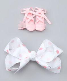 This Picki Nicki Hair Bowtique Pink Ballet Slipper & White Polka Dot Bow Clip Set by Picki Nicki Hair Bowtique is perfect! #zulilyfinds